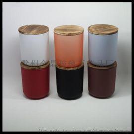 烤漆圆底玻璃烛杯弧底玻璃烛台配木盖,金属盖