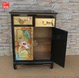 凡高漆器金箔手繪荷花圖案兩斗雙門櫃