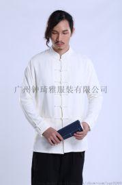 亚麻衬衫男青年长袖休闲棉麻衬衣男士白寸衫国风男装