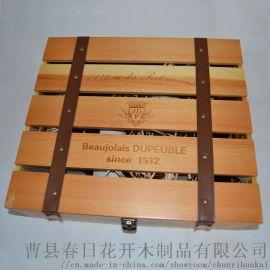 复古四支红酒木盒四支红酒木制包装盒