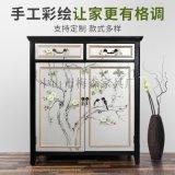 新中式鞋柜小户型阳台柜实木斗柜欧式美式进门柜子