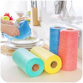 无纺布洗碗巾 厨房免洗环保抹布 不沾油吸水百洁布可撕式断点卷状