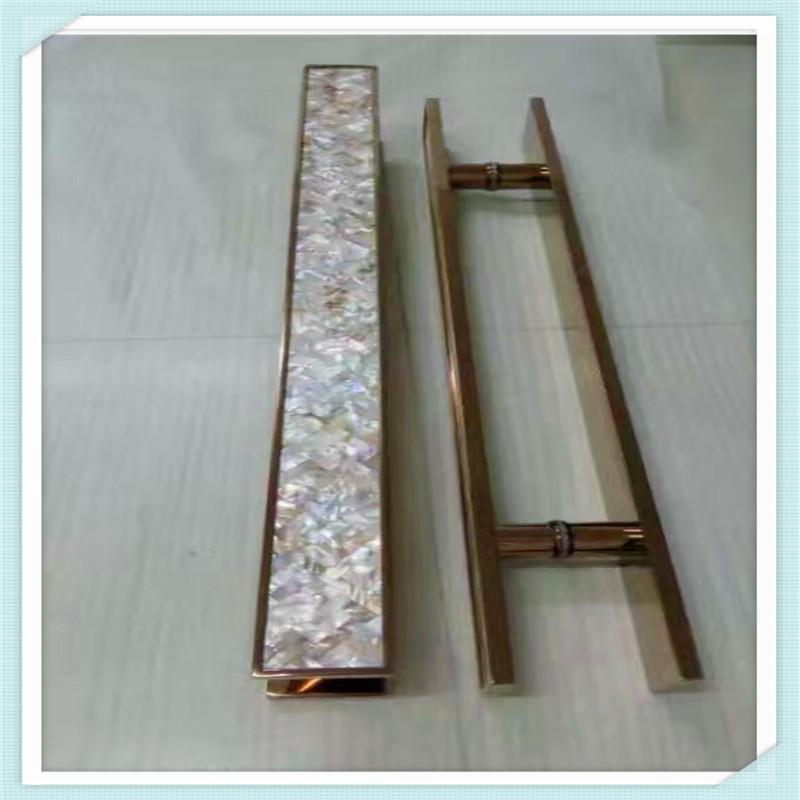玻璃門拉手拉絲黑白不鏽鋼方管雙彎大門把手啞黑鈦金玫瑰金定製
