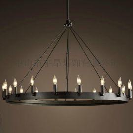 美式鄉村復古客餐廳簡約現代歐式古典工業圓桌鐵藝蠟燭吊燈