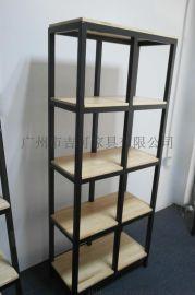 铁艺置物架实木储物架一字隔板多层金属陈列架