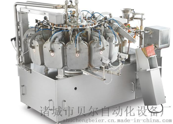 供应进口猫粮狗粮预制袋包装机(颗粒包装机)+定量給袋式包装机操作流程简单,每分钟包装11-15袋,效率高,品质好