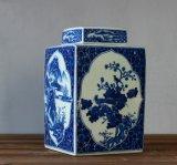 景德镇手工青花四方罐_景德镇罐子生产厂家_万业陶瓷