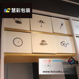 白色广告纸箱 名创优品同款货架顶柜展示盒顶部图案装饰收纳箱