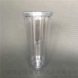 热销塑料吸管杯 Diy转印卡纸杯 可定制logo多款盖子双层可乐杯子