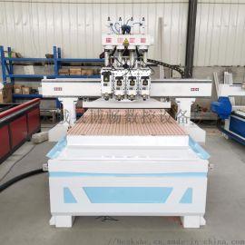 气动四头实木门雕刻机 家具下料机 整体橱柜开料机