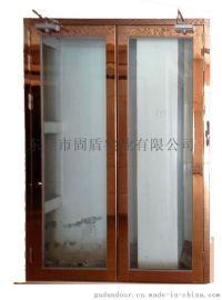 海南固盾不锈钢防火玻璃门诚招生产直销单开黑钛甲级不锈钢玻璃防火门服务好