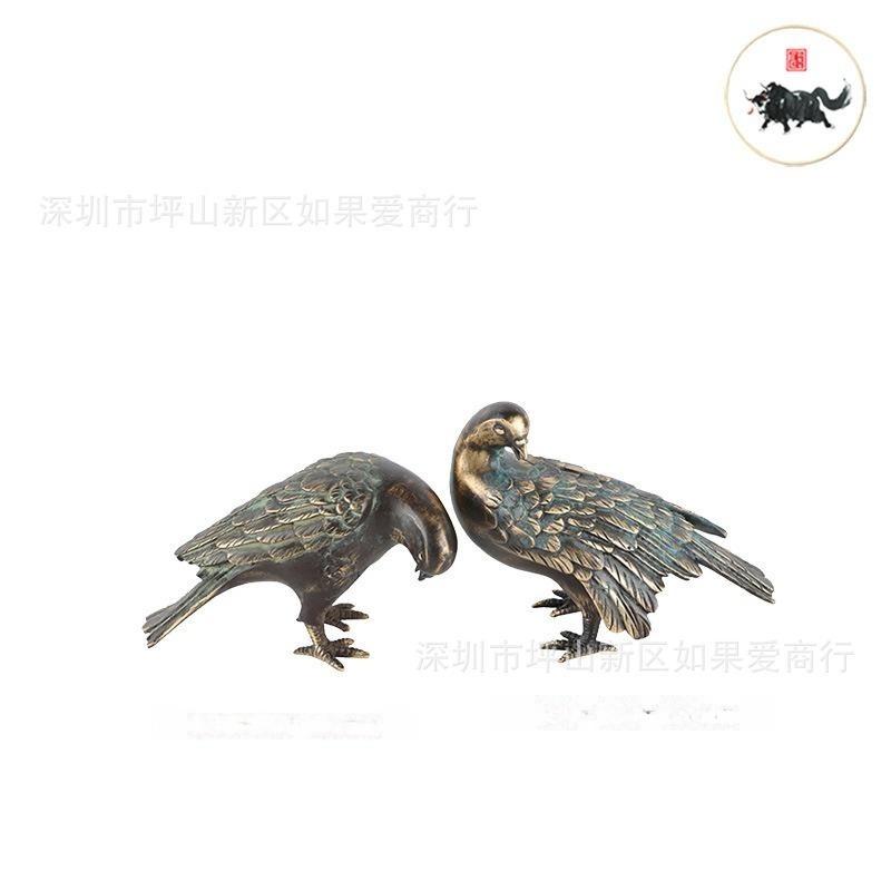新中式中国风腐蚀-铜挠头俯首-鸟样板间客厅书房别墅软装饰品摆件