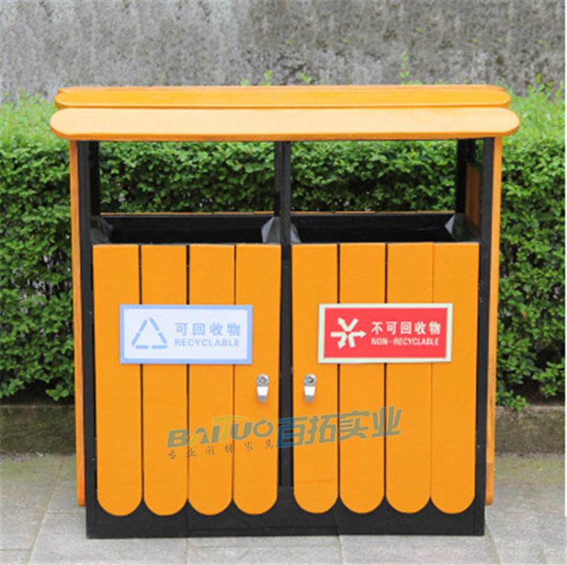 定制户外公园景区防腐木垃圾桶复古室外碳化木垃圾箱