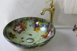 手绘艺术钢化玻璃洗手盆, 洗漱盆 ,台上盆