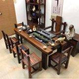 老船木茶桌椅組合簡約休閒古典泡茶桌船木茶臺茶几流水茶臺