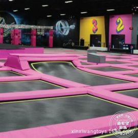 粉红主题1000㎡蹦床乐园 室内旱雪滑梯球池 网红成人健身蹦床公园
