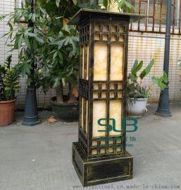 中式大门口灯小区花园石柱立柱灯仿云石柱头灯定做户外仿古铜景观灯不锈钢草坪灯