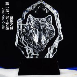 战狼之威水晶摆件 企业季度销售业绩评比纪念奖牌