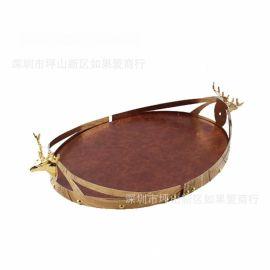 欧式现代古典金属铁艺金色鹿头椭圆形托盘样板间装饰品客厅摆件