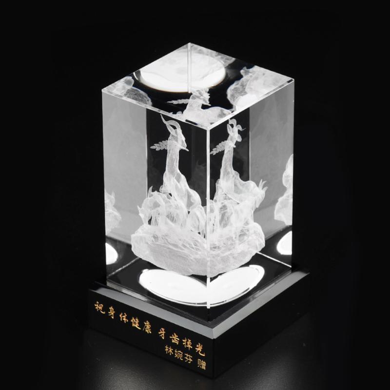 特色五羊3D內雕水晶礼品 精美五羊雕像水晶纪念品
