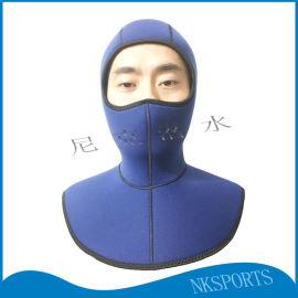 5mm氯丁橡胶披肩保暖防磨防护潜水头套防护面罩