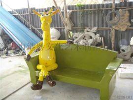 玻璃钢卡通小鹿座椅雕塑 游乐园休闲卡通动物座椅摆件