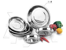 廠價直銷08特厚無磁不鏽鋼圓盤菜盤餐盤平底盤多用淺圓盤
