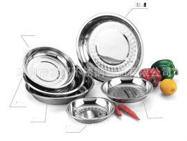 08特厚无磁不锈钢圆盘菜盘餐盘平底盘多用浅圆盘