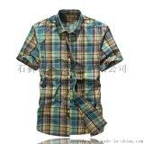 吉普战车 男士纯棉短袖衬衫 格子V领短袖衫 户外衬衫 防晒服
