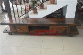 实木卧室电视机柜组合储物柜客厅落地矮柜中式老船木古典家具现货