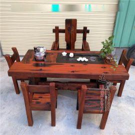 老船木茶桌椅组合 实木仿古茶台功夫多功能茶几简  茶桌椅组合