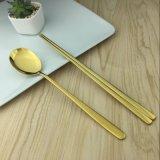 韓式304實心不鏽鋼筷子 砂光 鍍金扁筷勺叉子 不鏽鋼食具 批發