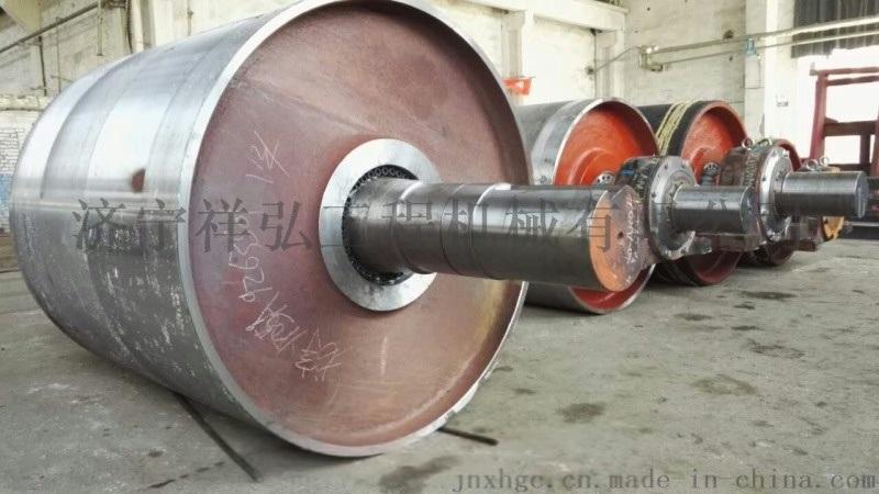 浙江电厂胶带输送机包胶滚筒现场修复滚筒