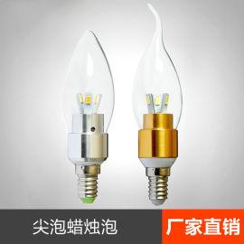 低价供应led蜡烛灯泡 e14小螺口拉尾泡尖泡