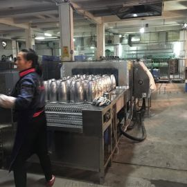 定制网带通过式不锈钢保温瓶清洗机 喷淋除油清洗线