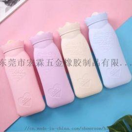 女生注水暖手暖宫热水袋 厂家定制硅胶热水袋
