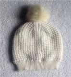 女式带假毛球摇粒绒内里双层针织比尼帽