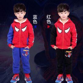 蜘蛛侠套装儿童两件套童装2018秋冬新款卫衣加绒加厚童套装