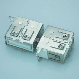 源头现货供应AF90度侧插全包usb母座12W母头USB充电手机连接器
