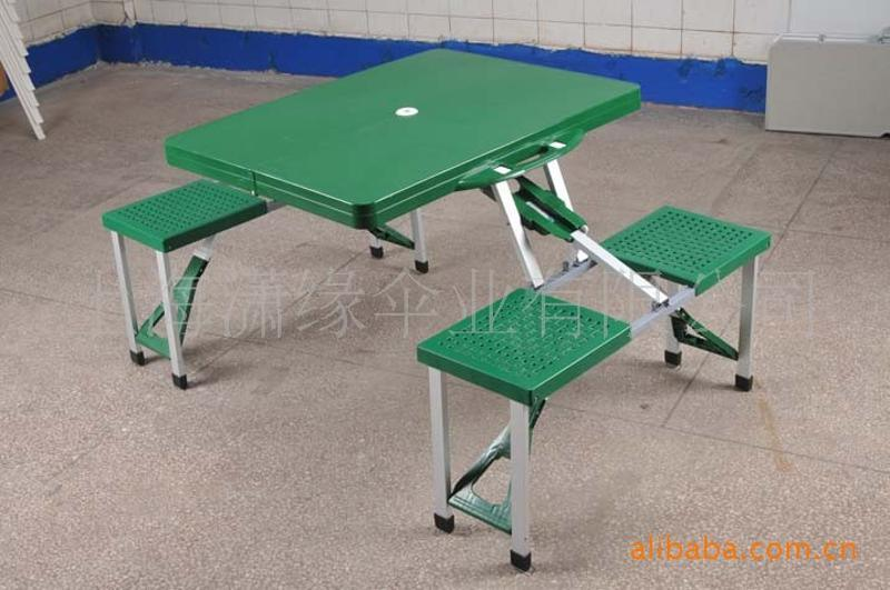 ABS摺疊桌椅批發 塑料連體桌椅現貨 ABS加厚面板休閒摺疊桌批發