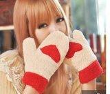 厂家直销保暖全指女士手套秋冬季保暖加厚毛绒爱心手套