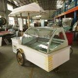 水果冰棒雪糕展示柜厂家商用超低温流动式冰淇淋车/室外流动花车