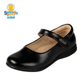 四季熊黑色**皮鞋夏白色公主鞋中大童儿童单鞋小童学生演出鞋子