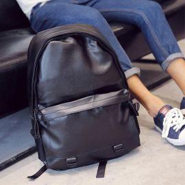 汉朴思皮质双肩包男 韩版潮PU皮学生双肩书包男 16寸电脑包防水休闲旅行包