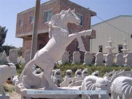 站马雕塑 石雕马 黑马雕塑 仿古代石雕马 庭院装饰 石马摆件