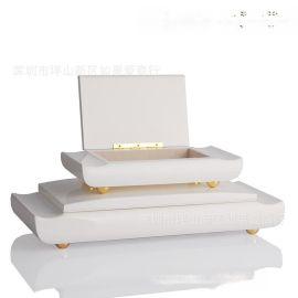 中欧式代长方形白色木质首饰盒简约收纳盒软装饰品样板间饰品摆件