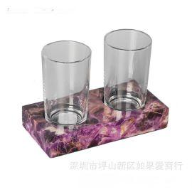 紫色酒紅色水晶歐式衛浴浴室牙刷杯架漱口杯架雙杯架口杯架家擺件