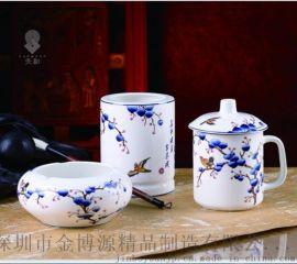 和瓷陶瓷心想事成三件套茶杯笔筒烟灰缸办公摆件