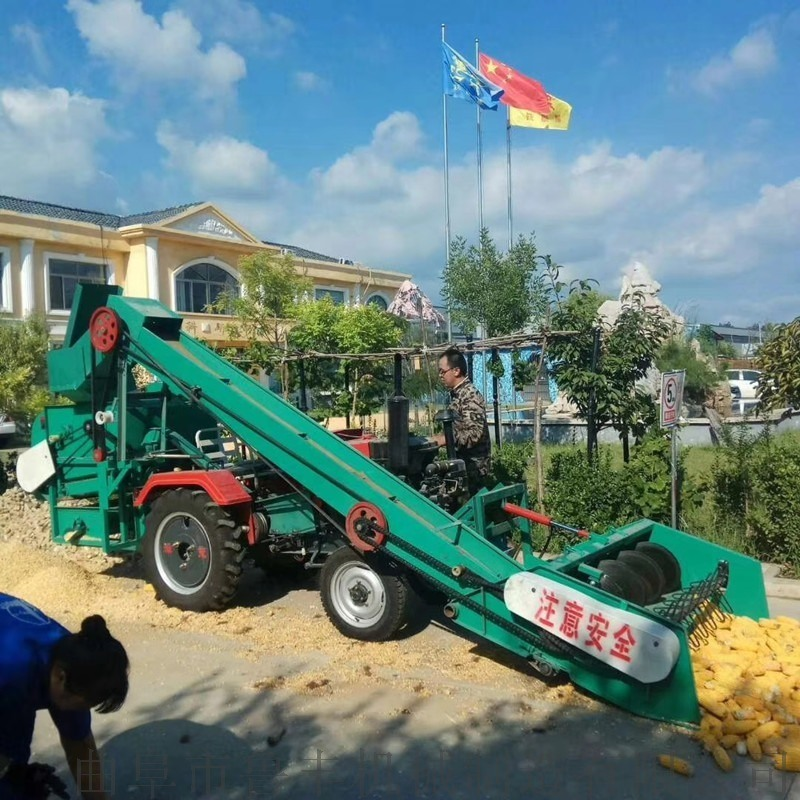 海东单缸拖拉机带双筒玉米脱粒机工作原理