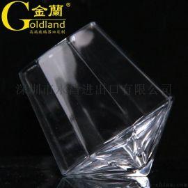 定制六角威士忌玻璃杯钻石不倒翁洋酒水晶杯欧式烈酒杯订做